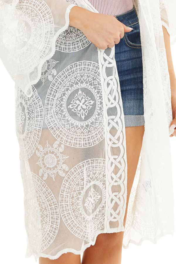 Ivory Open Front Lace Kimono with Scalloped Hemline detail