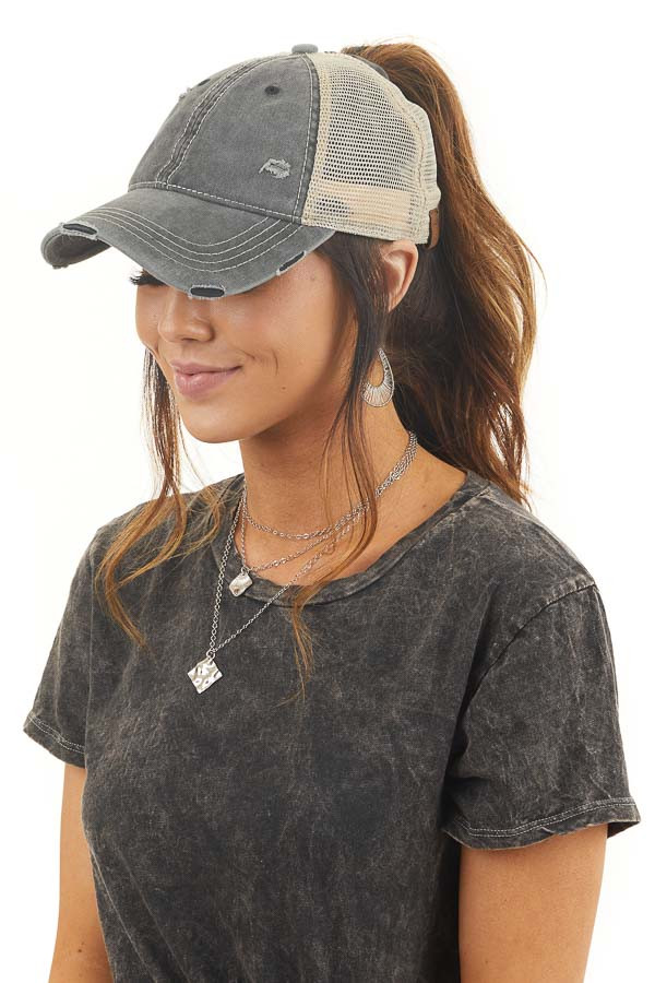 Faded Charcoal Distressed Trucker Cap with Mesh Detail