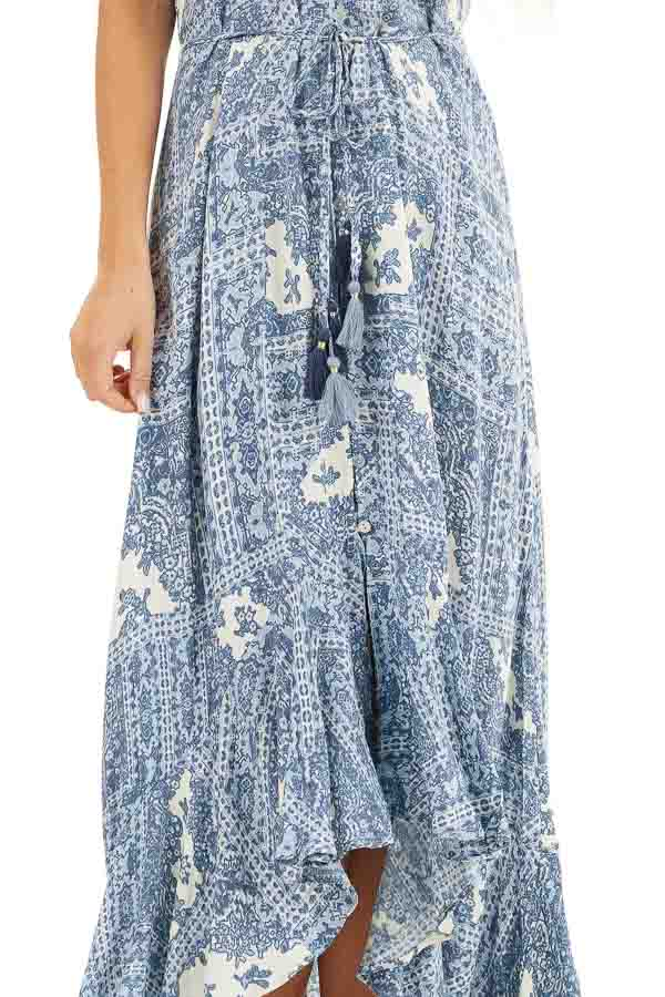 Dusty Blue Printed Button Up Maxi Dress with V Neckline detail