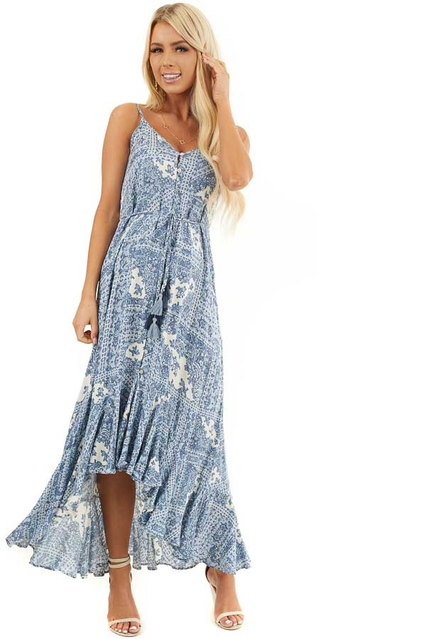 Dusty Blue Printed Button Up Maxi Dress with V Neckline front full body