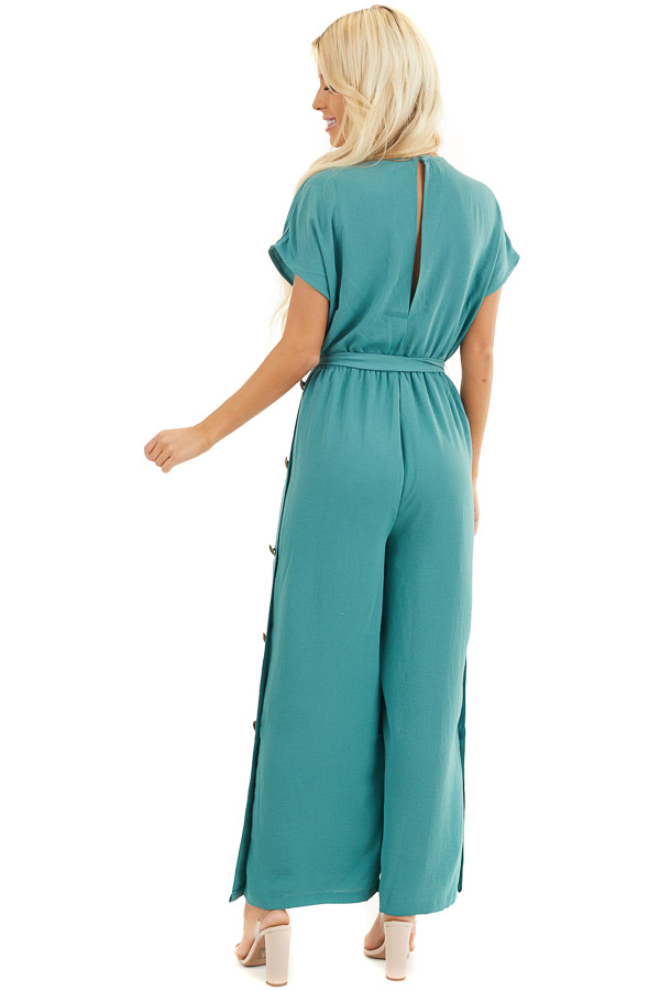 Pine Cinched Waist V Neck Jumpsuit with Button Details back full body
