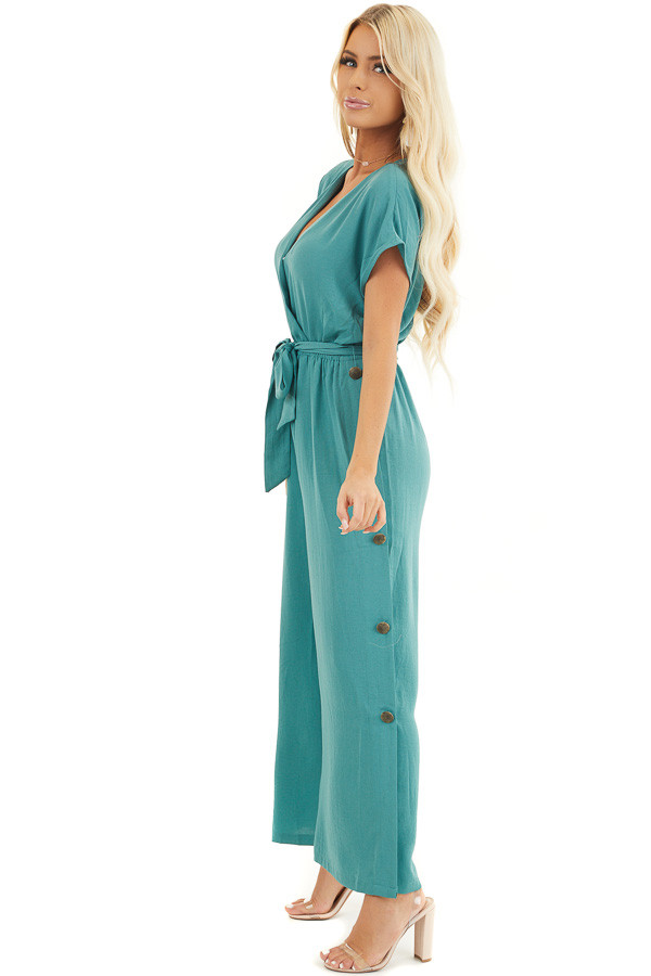 Pine Cinched Waist V Neck Jumpsuit with Button Details side full body