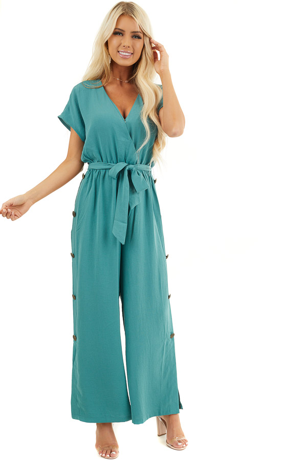Pine Cinched Waist V Neck Jumpsuit with Button Details front full body