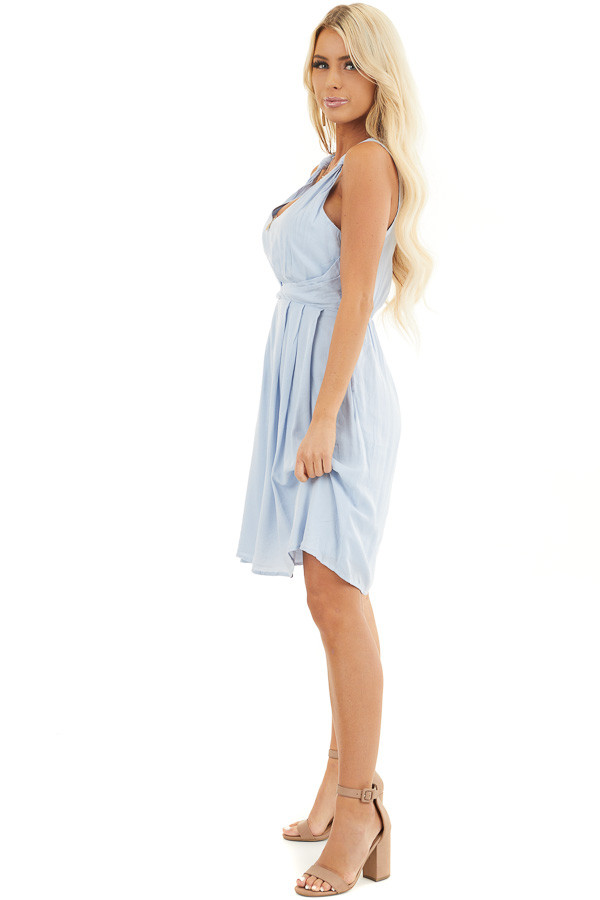 Baby Blue Sleeveless Dress with Pleats and Knotted Straps side full body