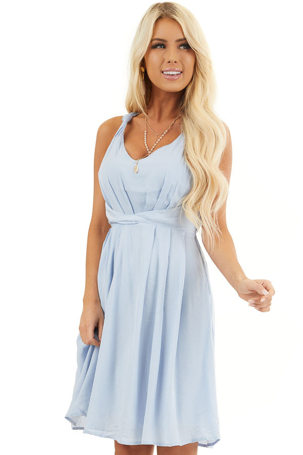 Baby Blue Sleeveless Dress with Pleats and Knotted Straps front close up