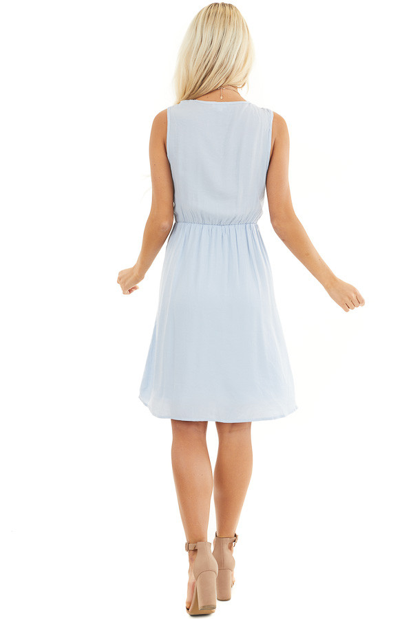 Baby Blue Sleeveless Dress with Pleats and Knotted Straps back full body
