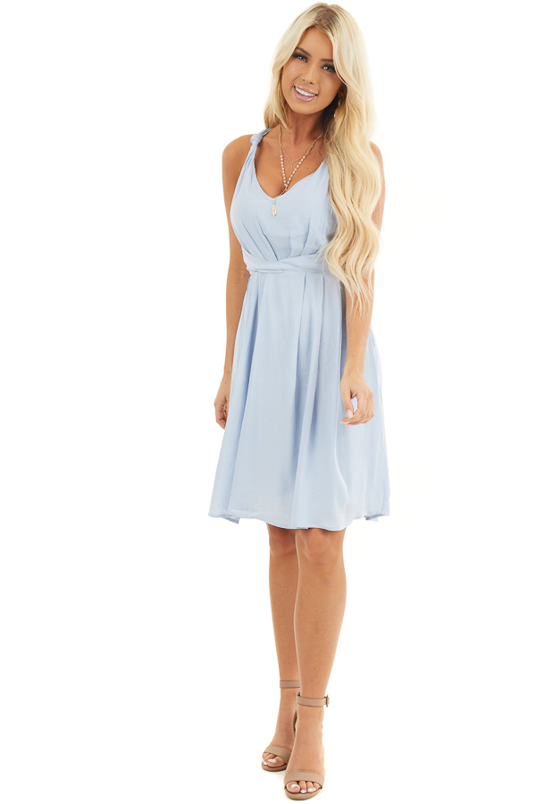 Baby Blue Sleeveless Dress with Pleats and Knotted Straps front full body