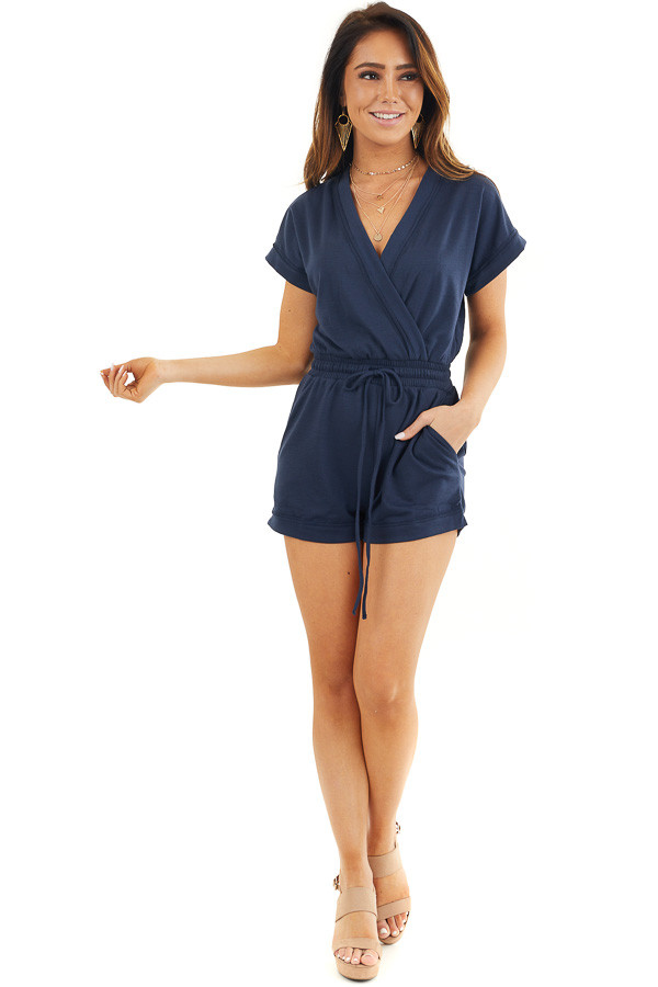 Navy Short Sleeve Surplice Romper with Side Pockets front full body