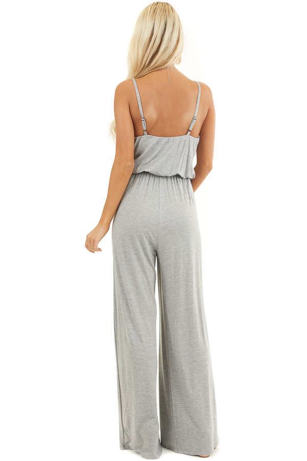 Heather Grey Spaghetti Strap Jumpsuit with Gathered Neckline back full body