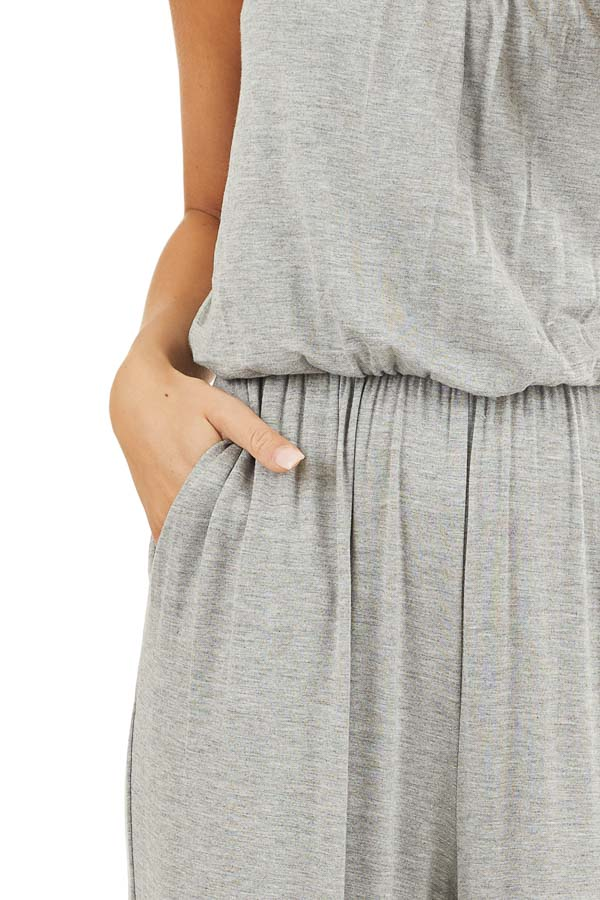 Heather Grey Spaghetti Strap Jumpsuit with Gathered Neckline detail