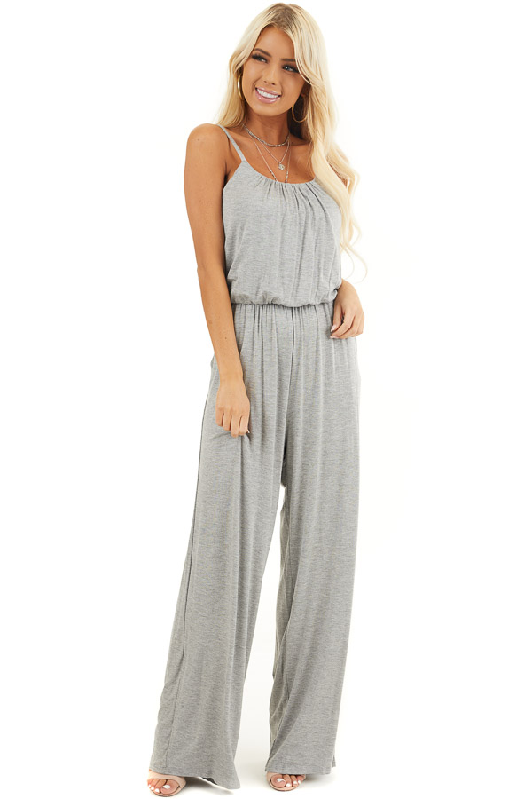Heather Grey Spaghetti Strap Jumpsuit with Gathered Neckline front full body
