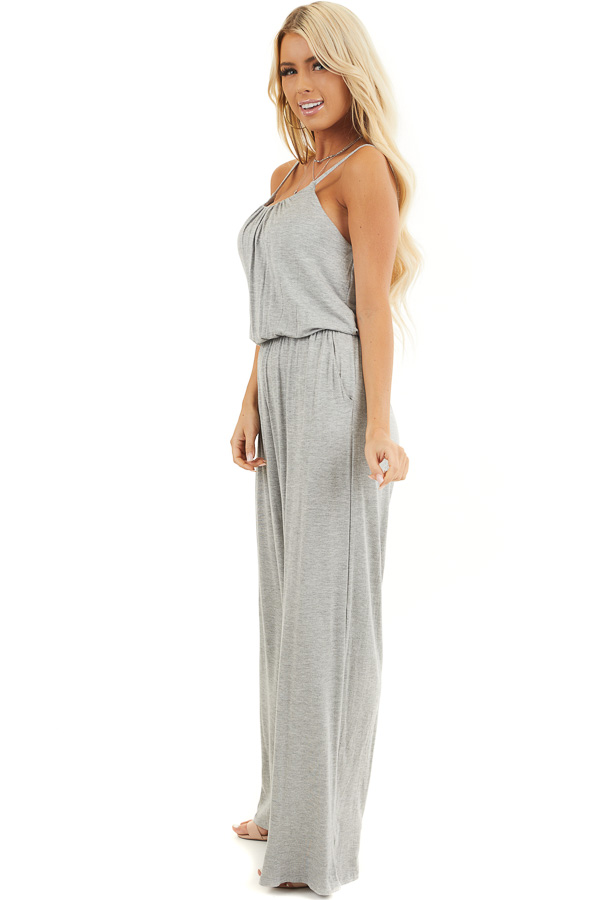 Heather Grey Spaghetti Strap Jumpsuit with Gathered Neckline side full body