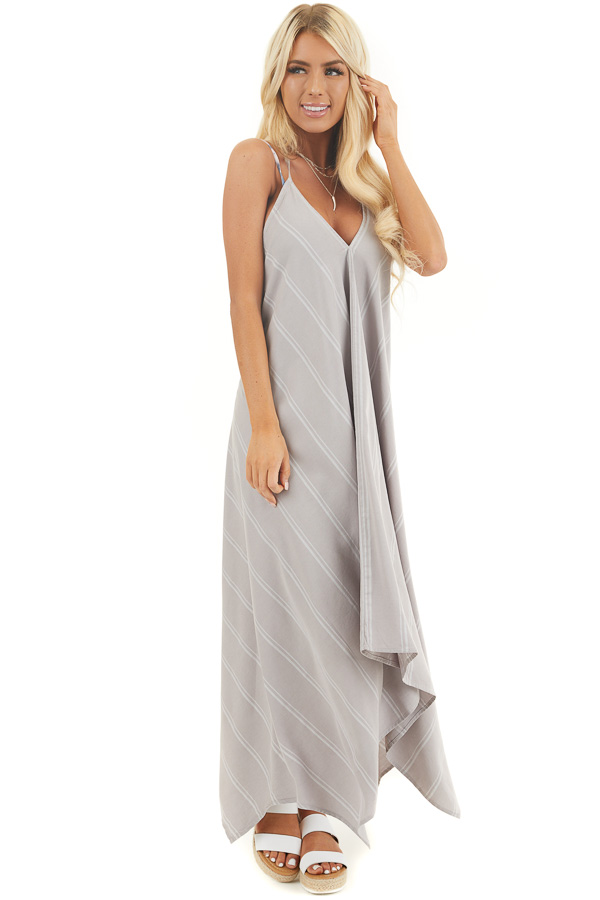 Grey Striped Strappy Maxi Dress with Handkerchief Hemline front full body