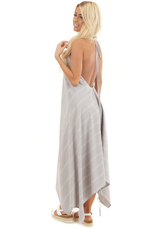 Grey Striped Strappy Maxi Dress with Handkerchief Hemline side full body