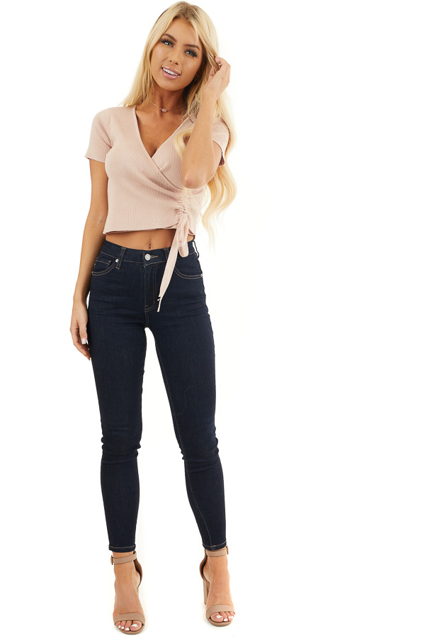 Dusty Pink Ribbed Knit Crop Top with Side Ruching Detail front full body