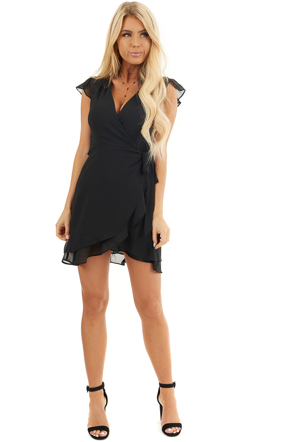 Black Short Sleeve Wrapped Mini Dress with Ruffle Details front full body