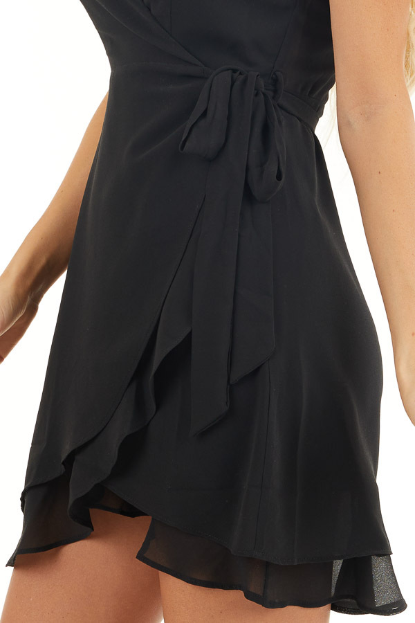 Black Short Sleeve Wrapped Mini Dress with Ruffle Details detail