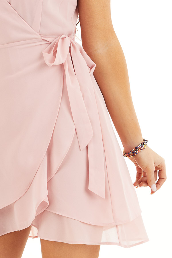 Baby Pink Short Sleeve Wrapped Mini Dress with Ruffle Detail detail