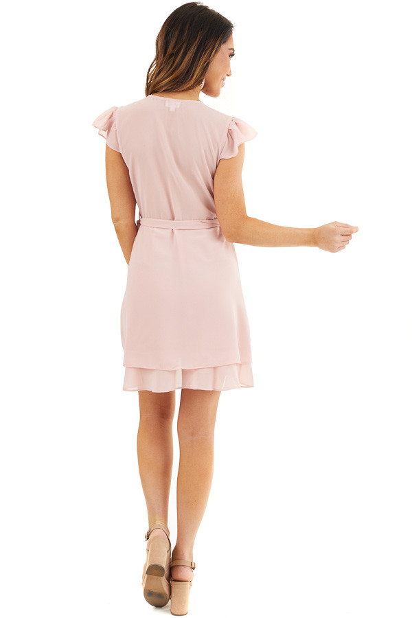 Baby Pink Short Sleeve Wrapped Mini Dress with Ruffle Detail back full body
