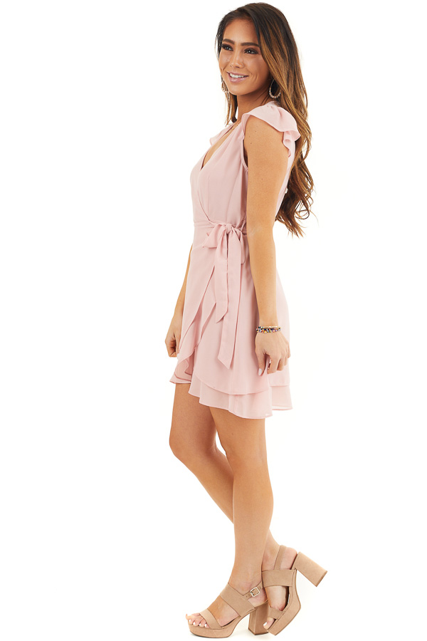 Baby Pink Short Sleeve Wrapped Mini Dress with Ruffle Detail side full body