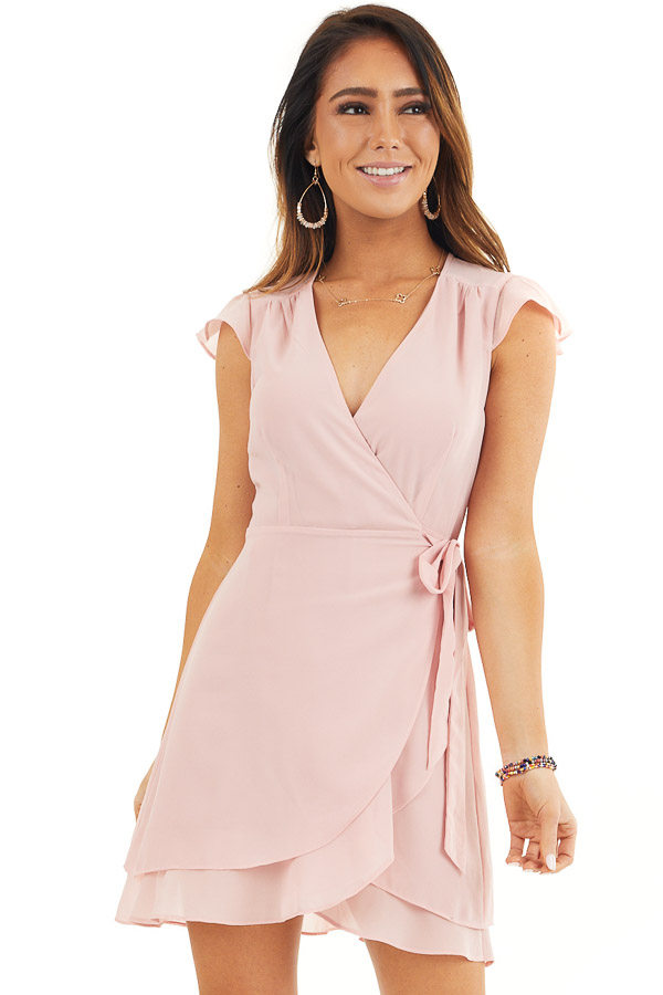 Baby Pink Short Sleeve Wrapped Mini Dress with Ruffle Detail front close up
