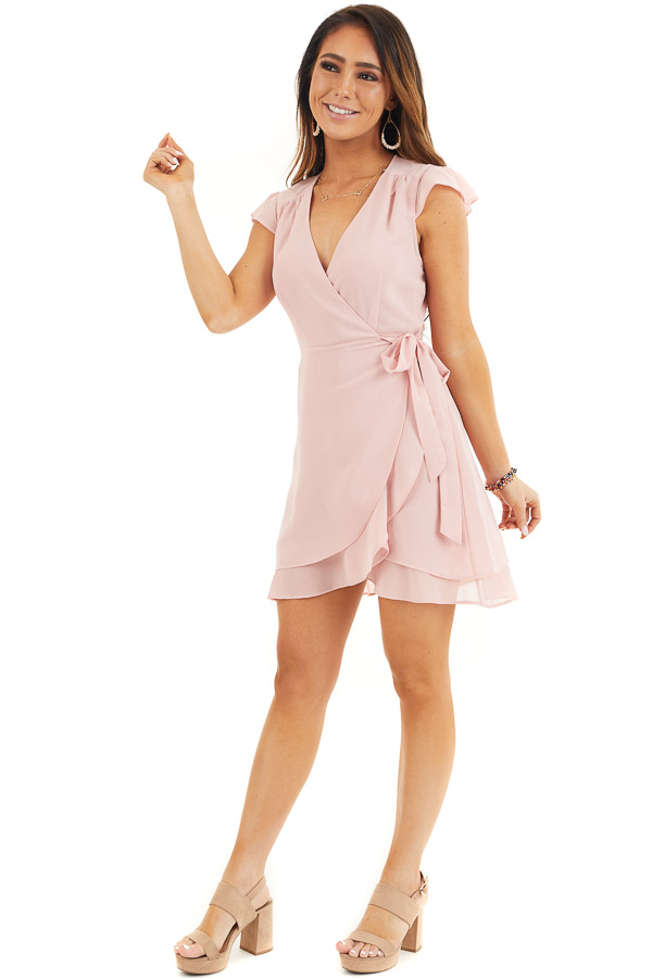 Baby Pink Short Sleeve Wrapped Mini Dress with Ruffle Detail front full body