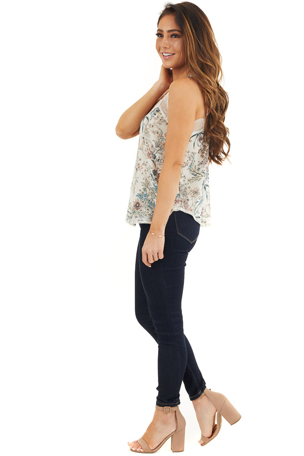 Ivory Floral Print Racerback Camisole Top with Lace Trim side full body