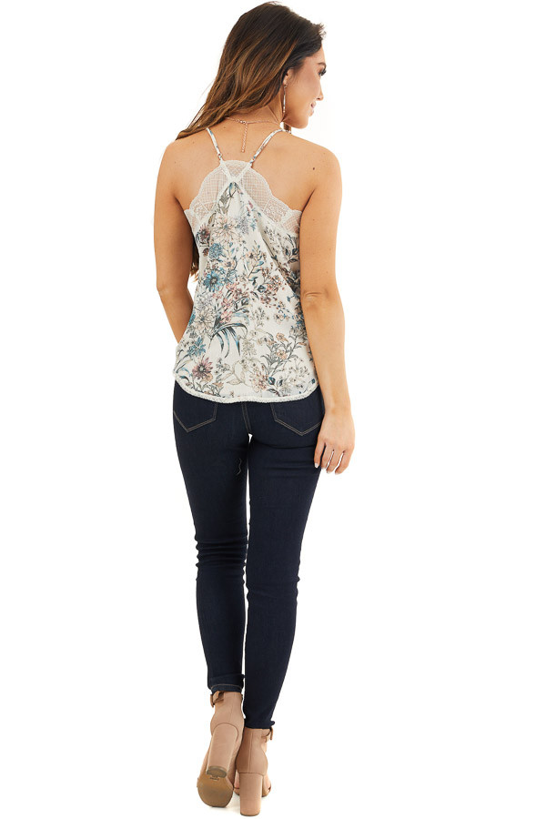 Ivory Floral Print Racerback Camisole Top with Lace Trim back full body