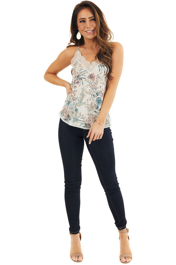 Ivory Floral Print Racerback Camisole Top with Lace Trim front full body