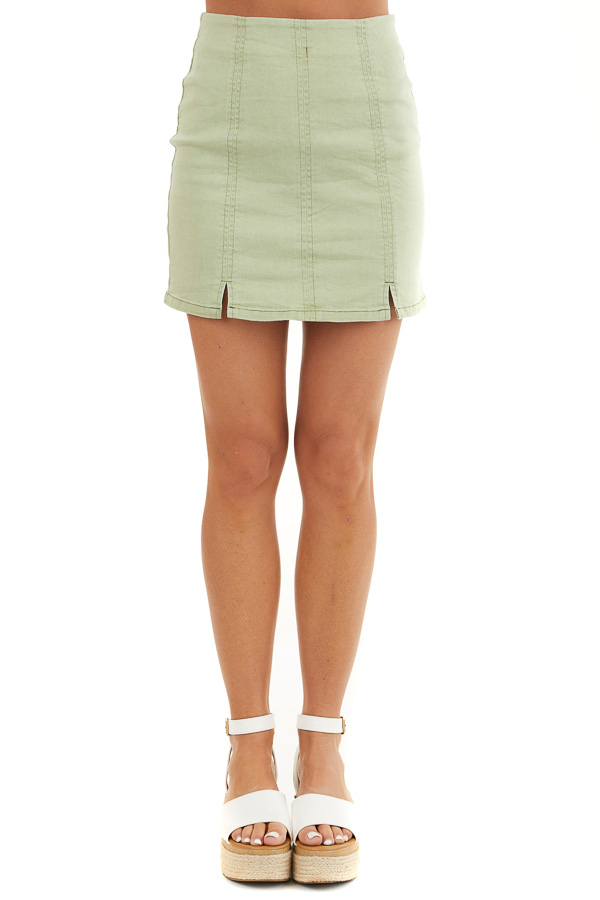Sage Green High Waisted Mini Skirt with Small Slit Details front view