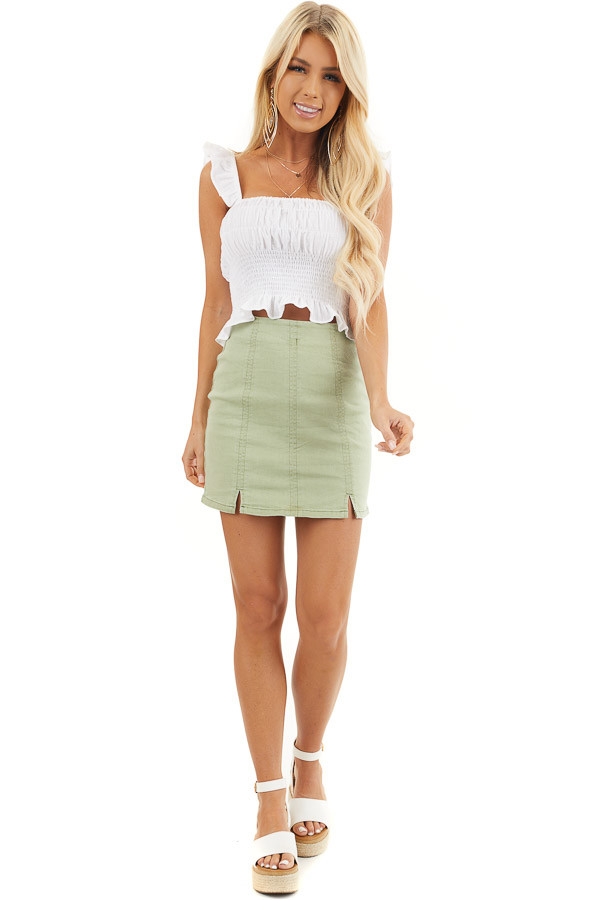 Sage Green High Waisted Mini Skirt with Small Slit Details front full body
