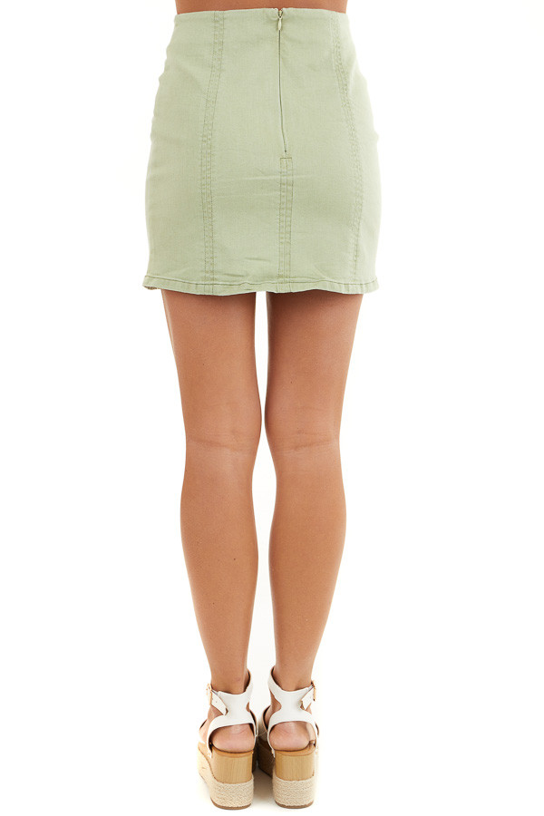 Sage Green High Waisted Mini Skirt with Small Slit Details back view