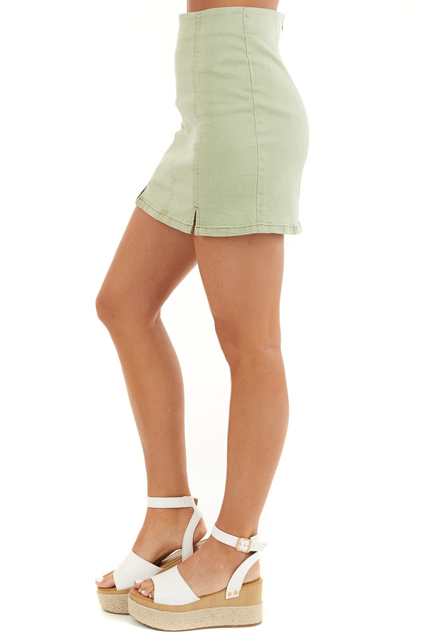 Sage Green High Waisted Mini Skirt with Small Slit Details side view