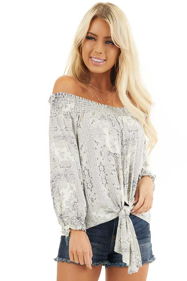 Pale Lilac Printed Off Shoulder Top with Long Puff Sleeves front close up