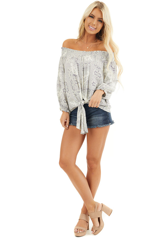 Pale Lilac Printed Off Shoulder Top with Long Puff Sleeves front full body