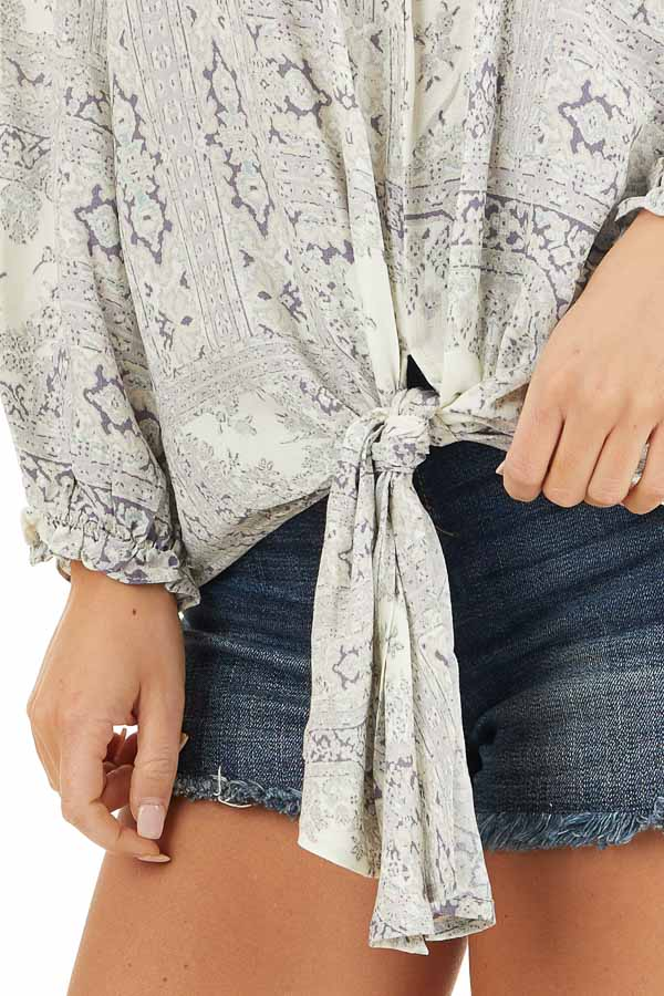 Pale Lilac Printed Off Shoulder Top with Long Puff Sleeves detail