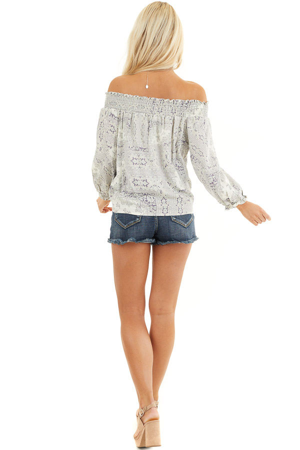Pale Lilac Printed Off Shoulder Top with Long Puff Sleeves back full body