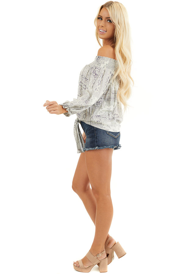 Pale Lilac Printed Off Shoulder Top with Long Puff Sleeves side full body