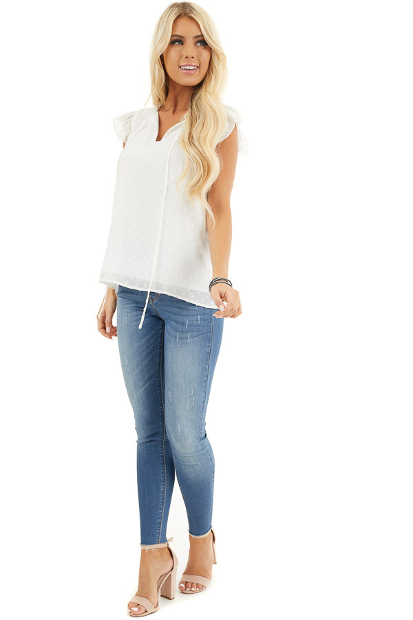 Off White Swiss Dot Top with V Neck Cutout and Tie Closure front full body