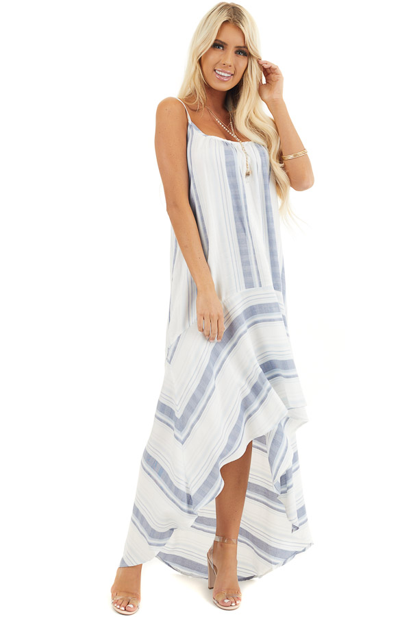 White Striped Sleeveless Maxi Dress with High Low Hemline front full body