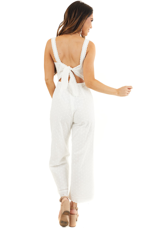 White Sleeveless Eyelet Lace Jumpsuit with Open Back Detail back full body