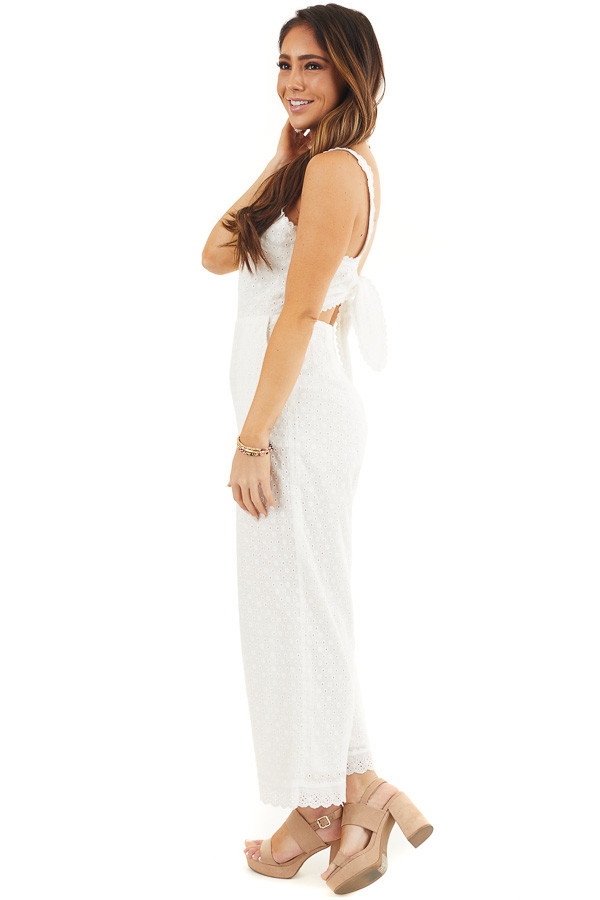 White Sleeveless Eyelet Lace Jumpsuit with Open Back Detail side full body