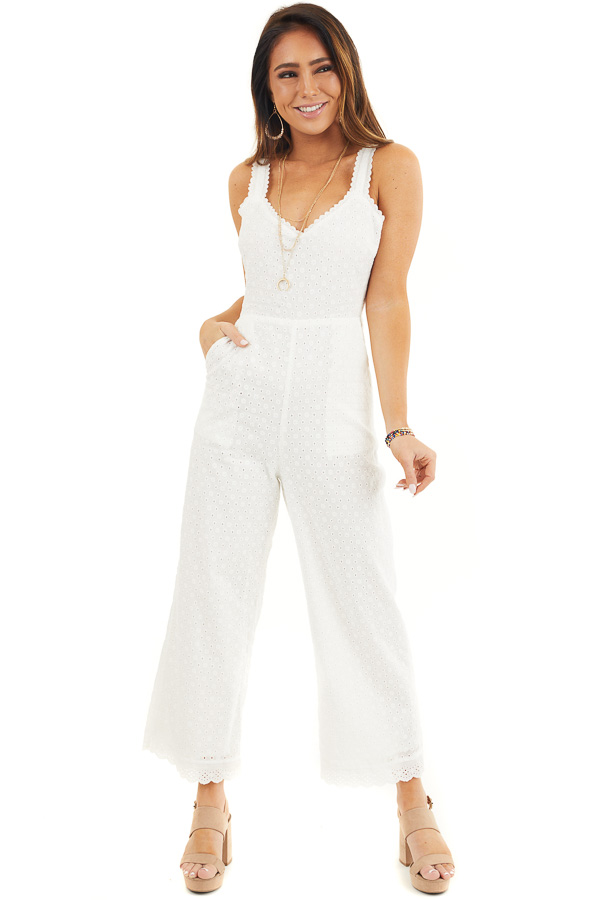 White Sleeveless Eyelet Lace Jumpsuit with Open Back Detail front full body