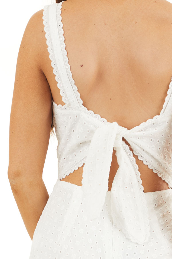 White Sleeveless Eyelet Lace Jumpsuit with Open Back Detail detail