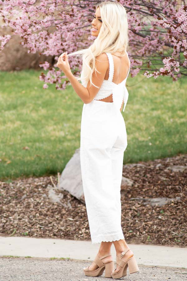 White Sleeveless Eyelet Lace Jumpsuit with Open Back Detail