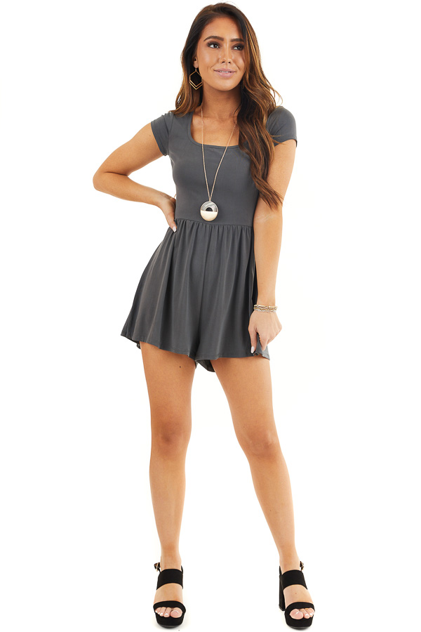 Charcoal Short Sleeve Romper with Back Cutout and Tie Detail front full body