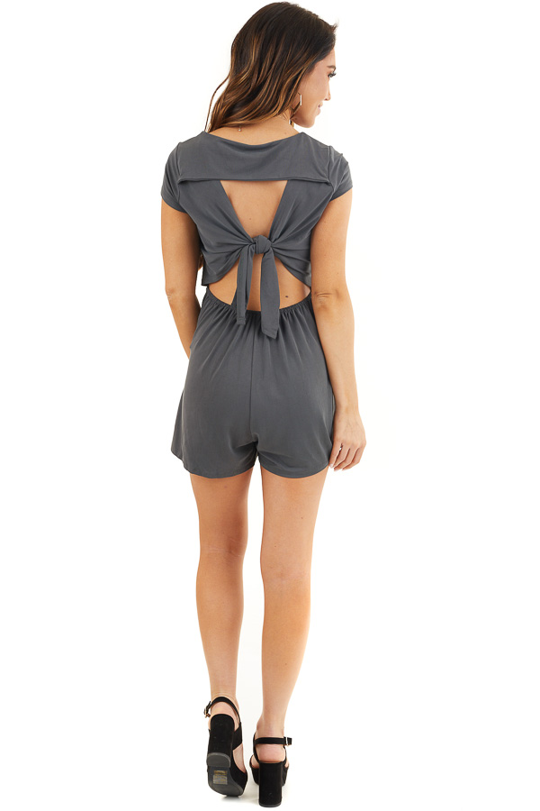 Charcoal Short Sleeve Romper with Back Cutout and Tie Detail back full body