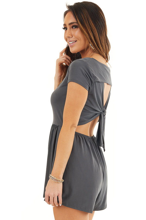 Charcoal Short Sleeve Romper with Back Cutout and Tie Detail back side close up
