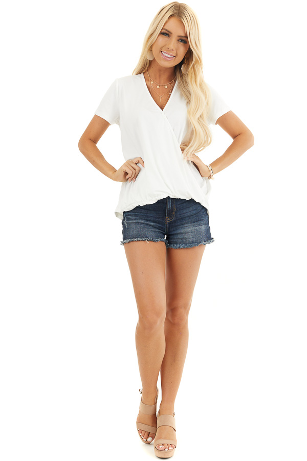 Off White Short Sleeve Surplice Top with Bubble Hemline front full body