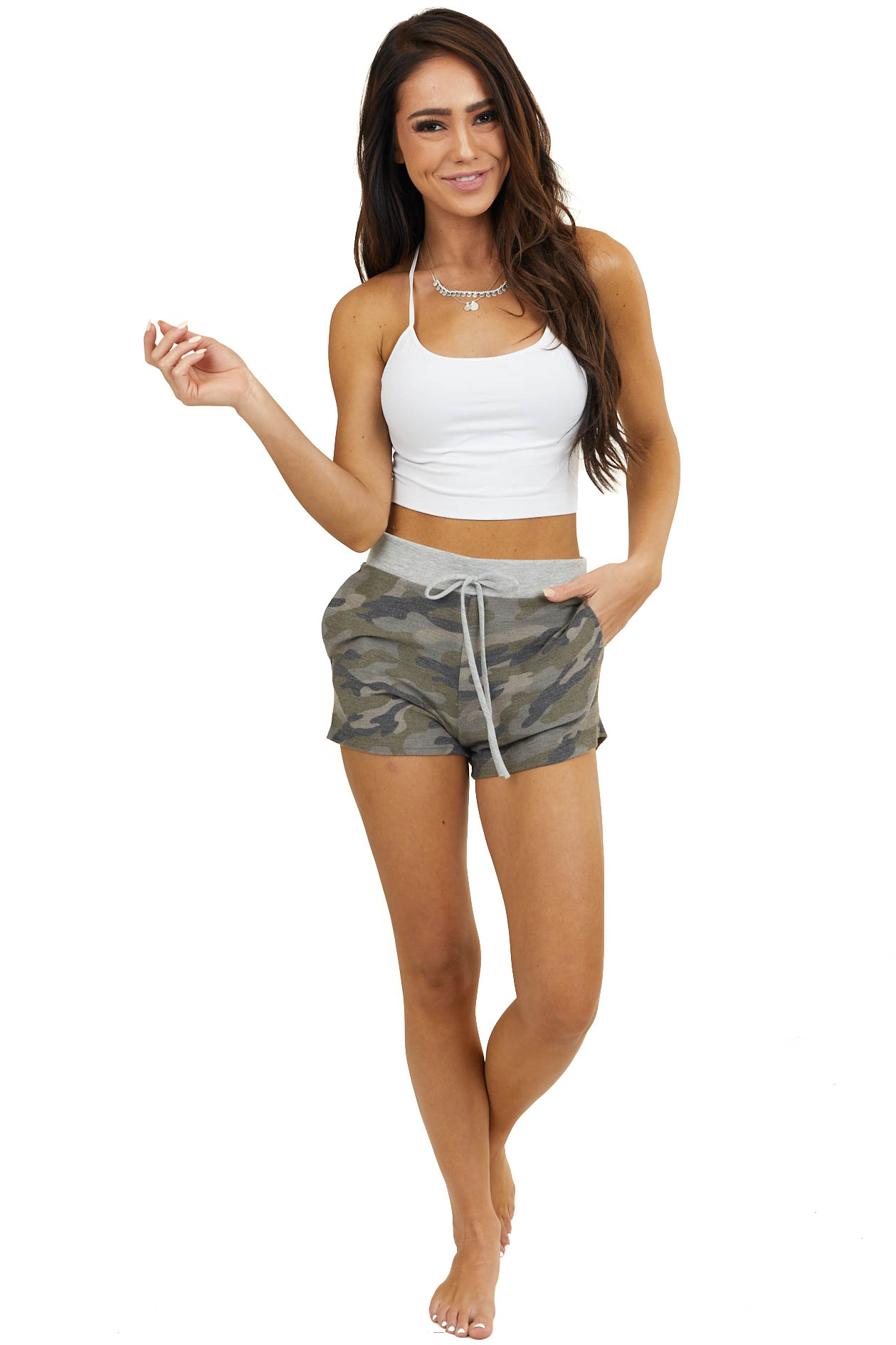 Olive Camo Print Shorts with Waist Tie and Pockets